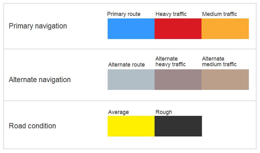 Google Maps colour palette